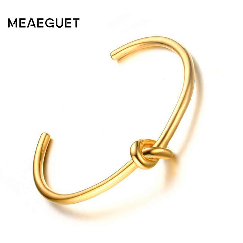 Trendy Round Circular Open Knot Cuff Bangle Bracelets For Women Elegant GoldColor Jewelry Noeud Armband Pulseiras