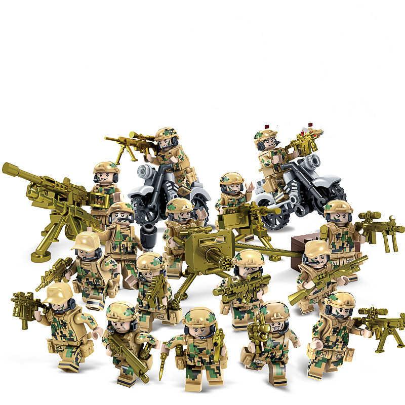 1 ชุดการพัฒนาสติปัญญามือประกอบของเล่นที่น่าสนใจทหารอาคารบล็อกของเล่น