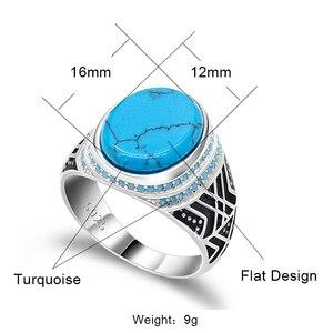 Image 2 - Мужские ювелирные изделия, турецкое кольцо с морской синей трещинкой, бирюзовый большой плоский камень, маленькие бирюзовые камни, 925 пробы Серебряное кольцо для мужчин