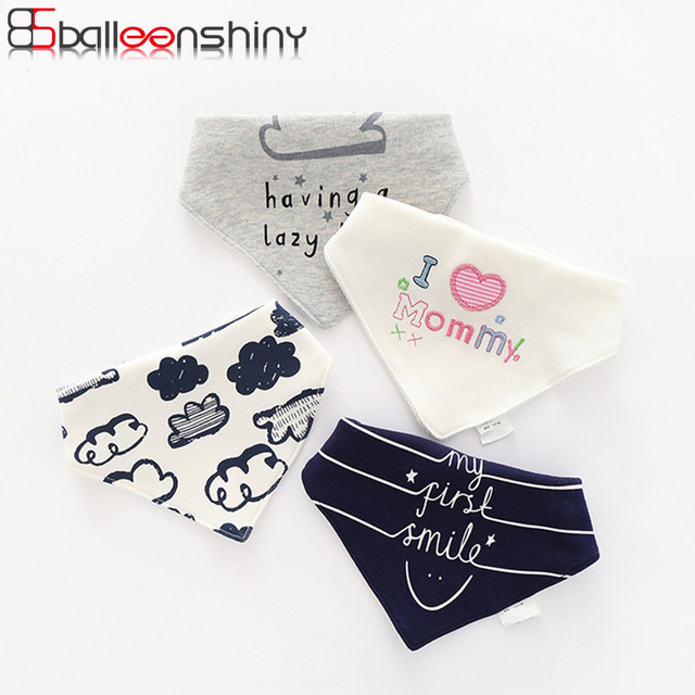 BalleenShiny Cotton Baby Feeding Bibs Bandana Newborn Burp Cloths Infant Boys Girls Triangle Bandana Letter Print Kids Scarf Bib
