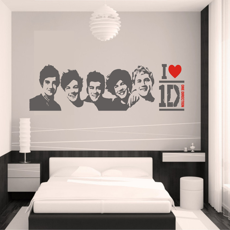 DIY Black Wall Sticker One Direction Poster Girls Bedroom Home Decoration Pictures Removable Art Wallpaper Vinyl Decals In Stickers From