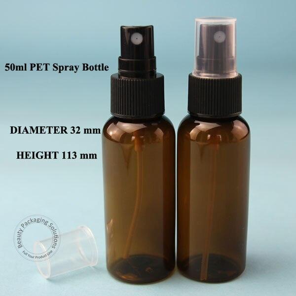 Hurtownie 100 sztuk/partia 50 ml Amber PET rozpylacz Atomizer butelka kosmetyczne płyn czarna plastikowa zaślepka fiolka do Pojemnik na wodę w Butelki wielokrotnego użytku od Uroda i zdrowie na  Grupa 1