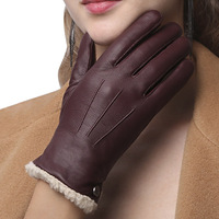High Quality Genuine Leather Women Gloves Autumn Winter Plus Velvet Fashion Slim Hand Warm Sheepskin Gloves Female NW181 55
