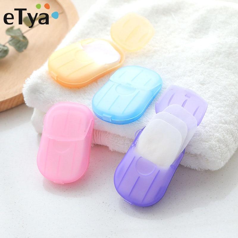 ETya 20pcs/Box Travel Soap Paper Washing Hand Bath Tool Clean Hands Disposable Soap Portable Mini Soaps Random Color Hot Sale