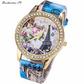Relogio Feminino Vintage Paris Eiffel Tower Leather Quartz Women Dress Watch Casual Crystal Wristwatch Relojes Mujer