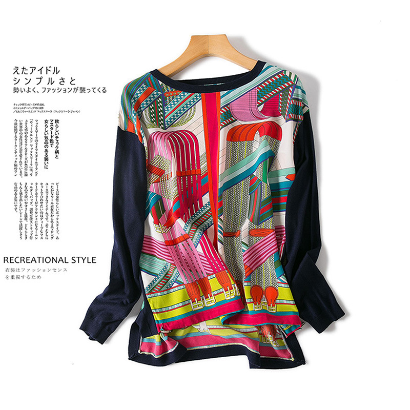 New  clothing   European  American high-end boutique Printed pure silk knitting flat shoulder sleeve shirt
