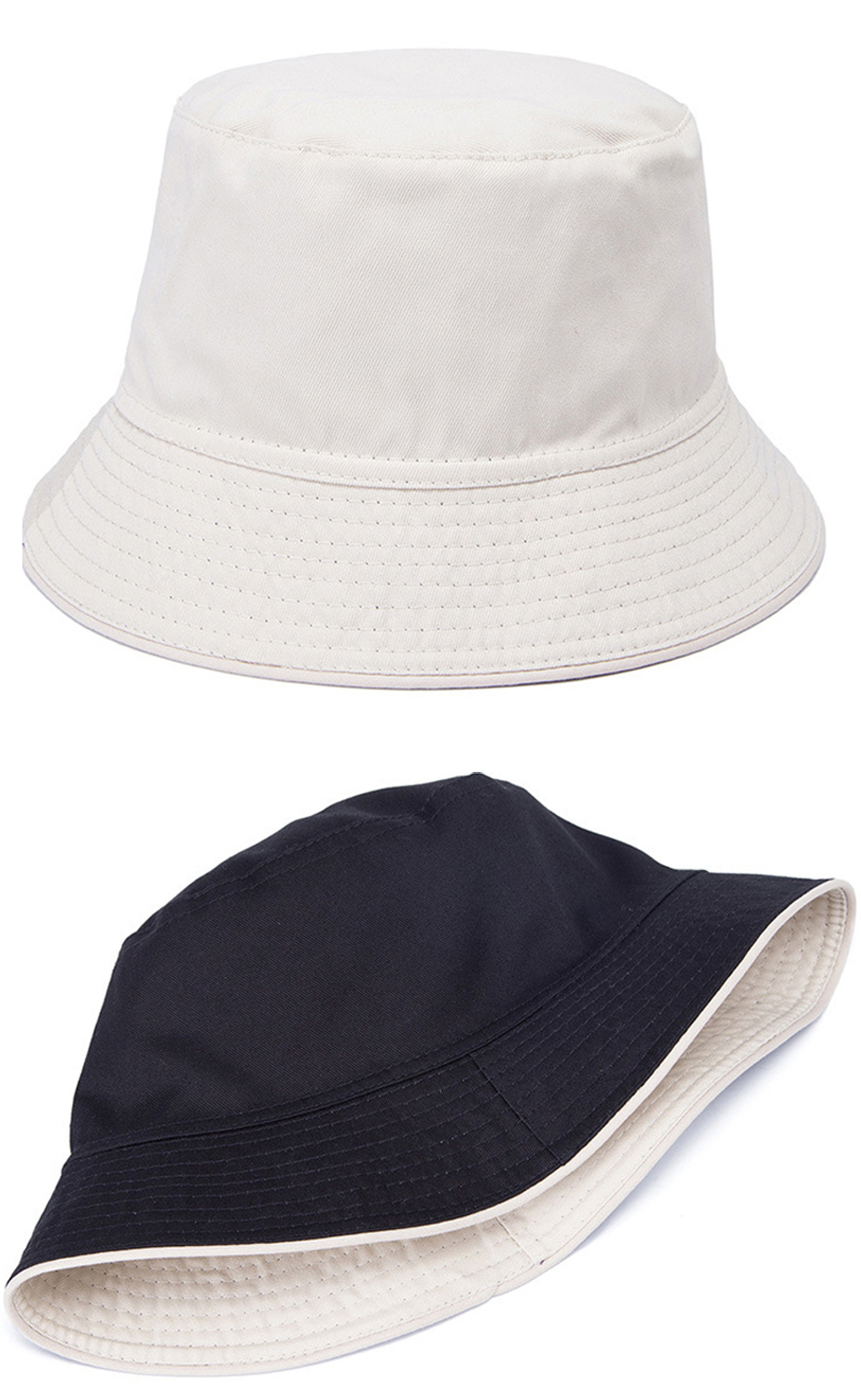 0aa499e170b Fashion Double Sides Bucket Hat Custom Cotton Reversible Bucket Sun Hat Cap  Fishing Hat