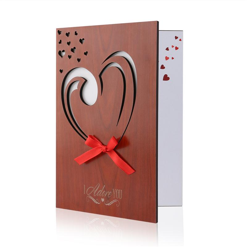 BESTOYARD Real Wood Card Romantic I ADORE YOU Hollow Hearts Cards for Wedding Dating Anniversary Valentine Souvenir Gift i found you