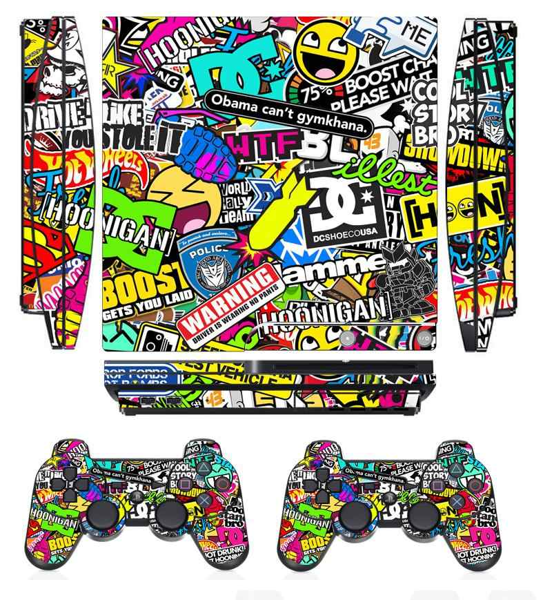 Bombing 262 Vinyl Skin Sticker Protector for Sony PS3 Slim PlayStation 3 Slim and 2 controller skins Stickers