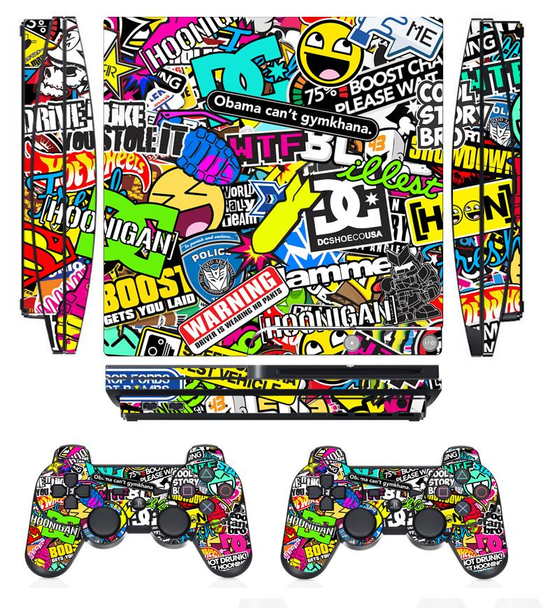 Bombing 262 Vinyl Skin Sticker Protector for Sony PS3 Slim PlayStation 3 Slim and 2 controller skins Stickers image