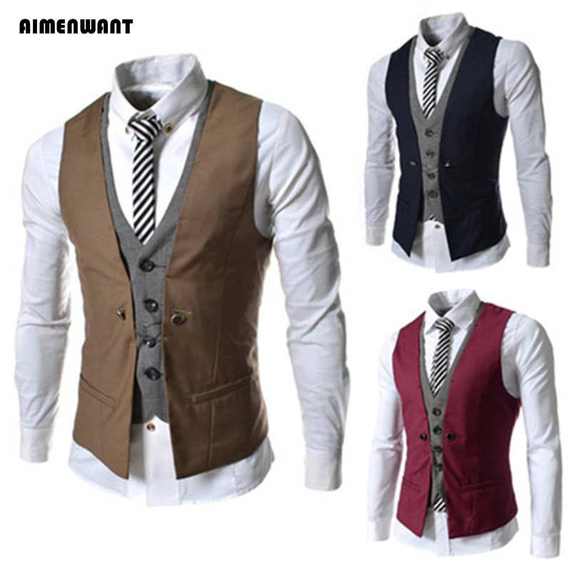 AIMENWANT Men's Clothing 2017 Korean Slim Fit Double Breasted Suits Vest Man England Gentle Contrast Waistcoat Mens Tops Gifts