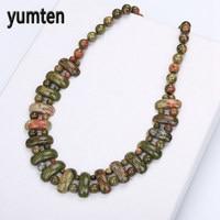 Yumten Unakite Necklace For Women Natural Stone Crystal Fashion Party Jewelry Colar Feminino Delicado Bijoux Femme