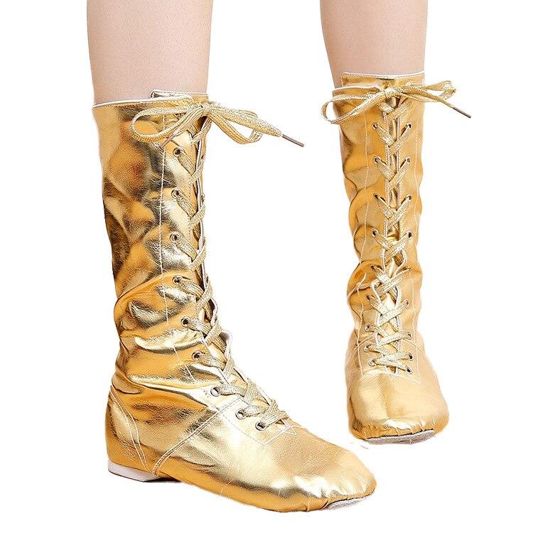 tiejian Canvas PU Children Dance Boots Jazz Dancing Shoes Lace ups Long Boot Black Gold Silver