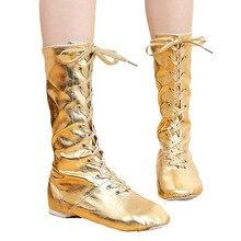 Tiejian/парусиновые детские танцевальные ботинки из искусственной кожи; Танцевальная обувь для джаза; высокие сапоги на шнуровке; Цвет черный, золотой, серебряный; обувь для выступлений для девочек; o9a