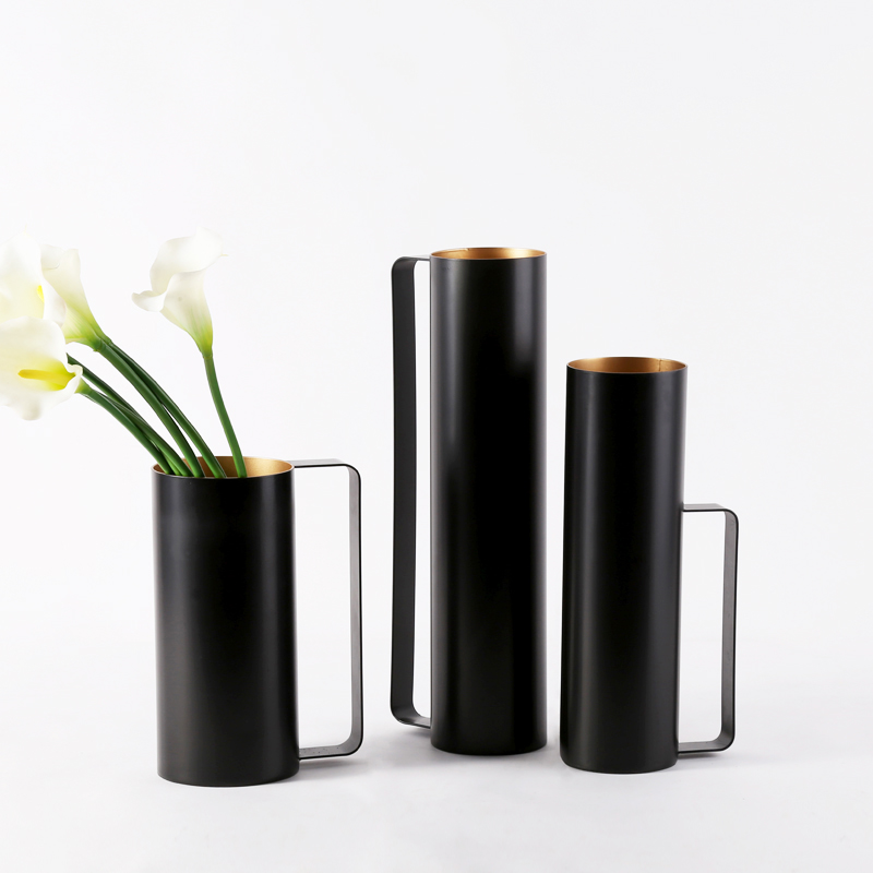 3 Size Waterproof Kettle Shape Modern Big Black Metal Flower Vase