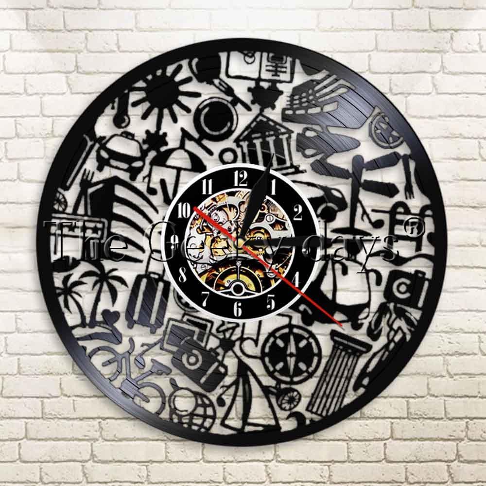 1Piece Tourism Vinyl Record Time Clock Travelling Home Decor Travel Wall Clock Handmade Unique Original Gift For Traveler