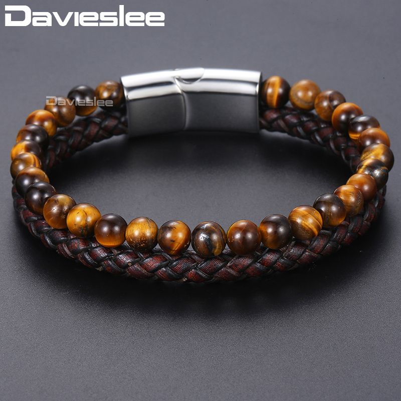 Davieslee Tiger Eye Stone Mens Beads Bracelet Brown Genuine Leather Bracelets For Men 2018 Jewelry Magnetic Clasp 6mm DDLB101 new men bracelet 8mm tiger eye stone