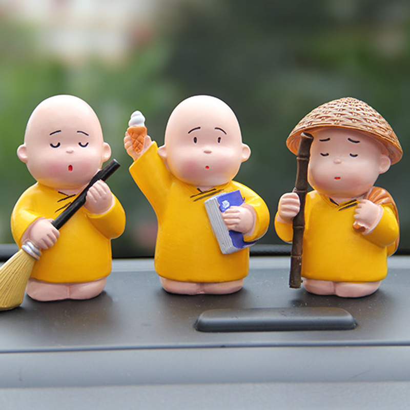 Little Monk Small Resin Crafts Decoration Statues Living Room Figurine Lucky Buddhist Monk