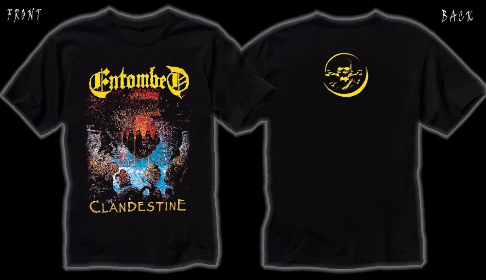 Funky T Shirts Short Sleeve Print Entombed Clandestine Death Metal Dismember Carcass T-Shirt Sizes S To 3XL Crew Neck Mens Tee