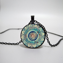 Mandala Flower Glass Pendant Necklace Retro Buddhist Chakra Round Charm Convex