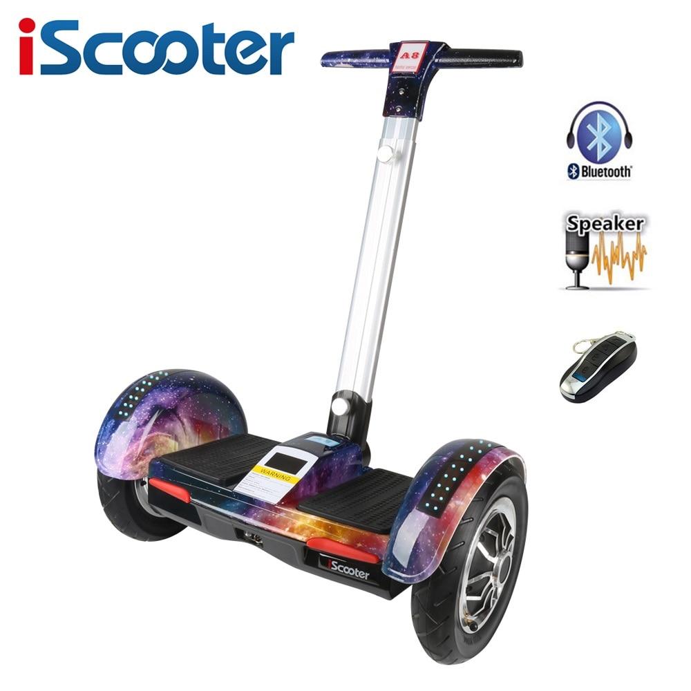 IScooter Hoverboard 10 дюймов двухколесный Электрический скейтборд с Bluetooth и умный самобалансирующий скутер электрический Гувер доска