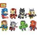 Loz mini bloques de construcción de juguetes marvel los vengadores superman batman spiderman ironman hulk mini ladrillos mini bloques juguetes para niños
