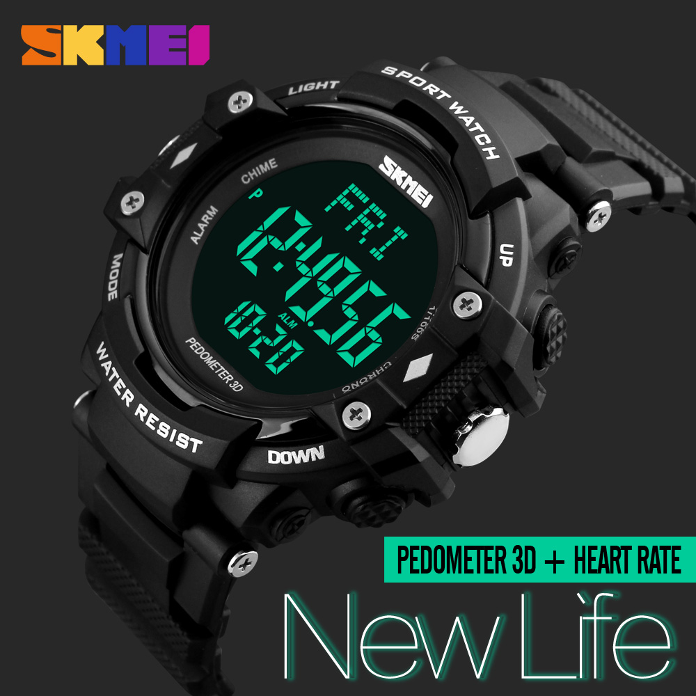 SKMEI Men Sports Health Watches 3D Pedometer Heart Rate Monitor Calories Counter 50M Waterproof Digital LED Mens Wristwatches skmei men sports health watches 3d pedometer heart rate monitor calories counter 50m waterproof digital led mens wristwatches
