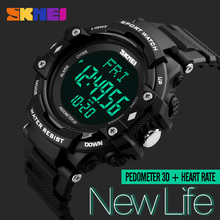 SKMEI Men Sports Health Watches 3D Pedometer Heart Rate Monitor Calories Counter 50M Waterproof Digital LED Mens Wristwatches