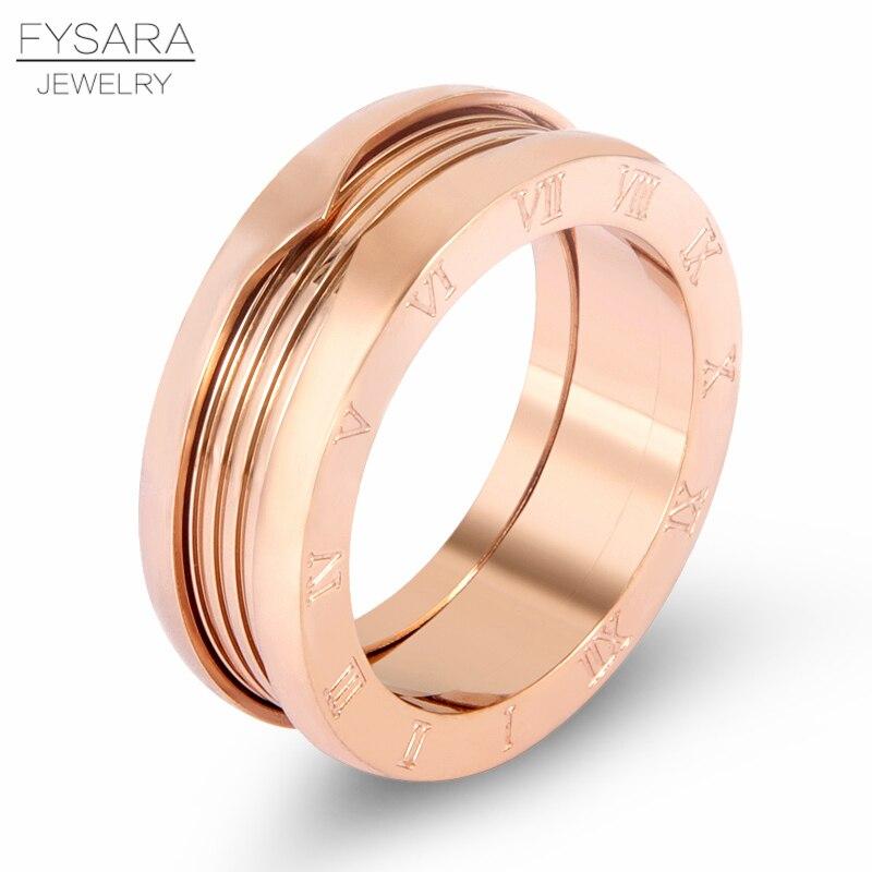 FYSARA marca de lujo número romano letra imitado primavera dedo anillos para las mujeres joyería pareja 7mm amor anillo de acero inoxidable hombres