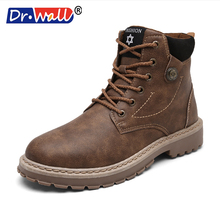 2017 Real Military Boots Dr.wall Men Fashion Ankle Boots Winter Snow Warm Casual Shoes Pu Leather Plush Fur Martin Size 39-44