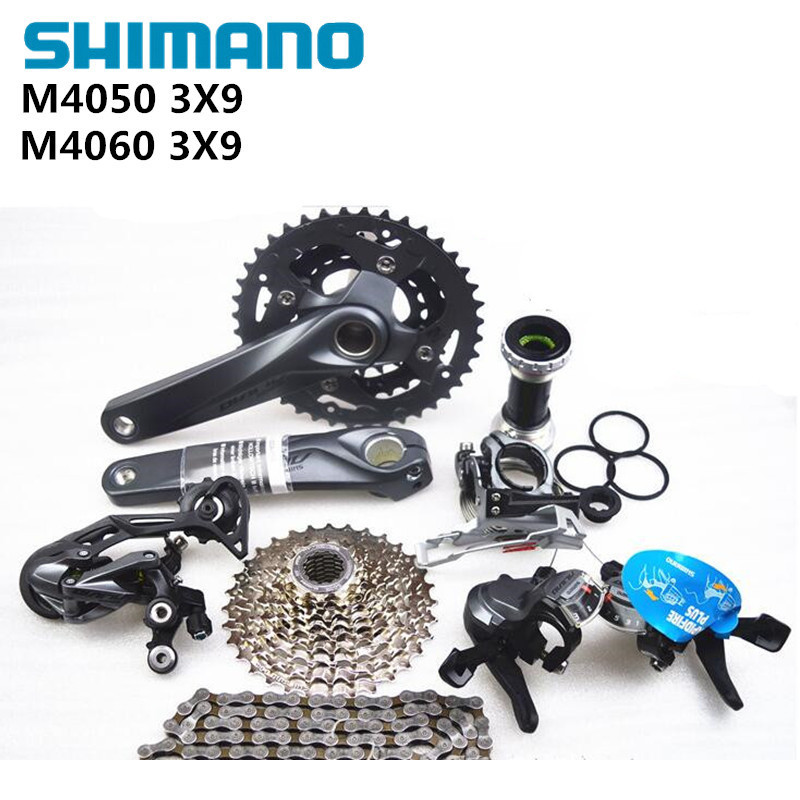 SHIMANO ALIVIO M4000 M4050 T4060 3x9S 27S speed MTB Bicycle groupset with hydraulic disc brake integrated 2016 new shimano m4050 hydraulic brake intergrate with 3x9s 27s shift lever mtb mountain bike calipers left