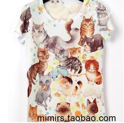 Детская одежда ребенка короткий рукав футболки печать мультфильм мальчик и девочка футболки 3D печать персонализированных группа котенка/62