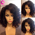 7A Wavy Short Human Hair Wigs Glueless Bob Lace Front Human Hair Wig With Baby Hair Bleached Knots Full Lace Wig For Black Women