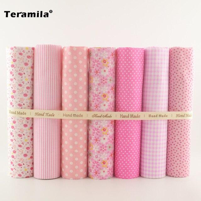 1Sets 7 Pieces Plain Cotton Patchwork Fabric Fat Quarter Bundle for Art Work Quilting Sewing Decoration Clothing Home Textile