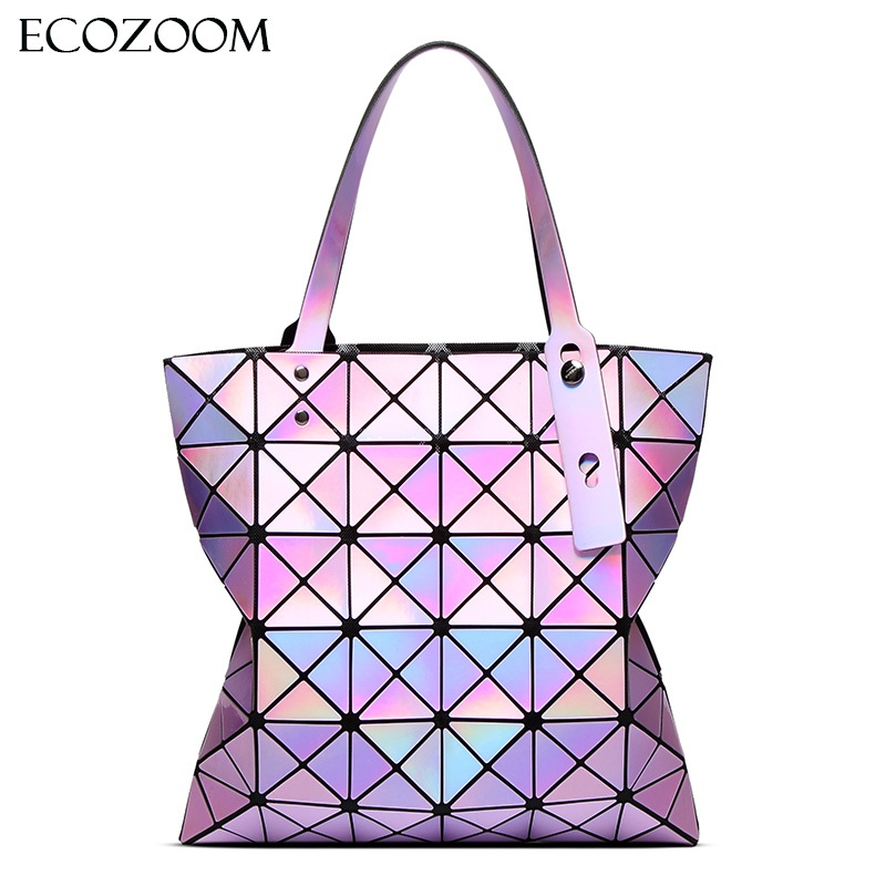 Famous Brands Women Laser Bright Tote Lady Geometry Diamond Lattice Sequins Fold Over Pearl Bag Hologram Handbags