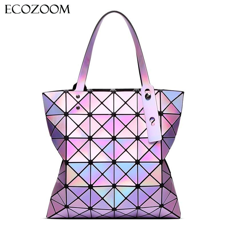 Famous Brands <font><b>Women</b></font> Laser Bright BaoBao Tote Lady Geometry Diamond Lattice Sequins Fold Over Pearl Bao Bao <font><b>Bag</b></font> Hologram Handbags