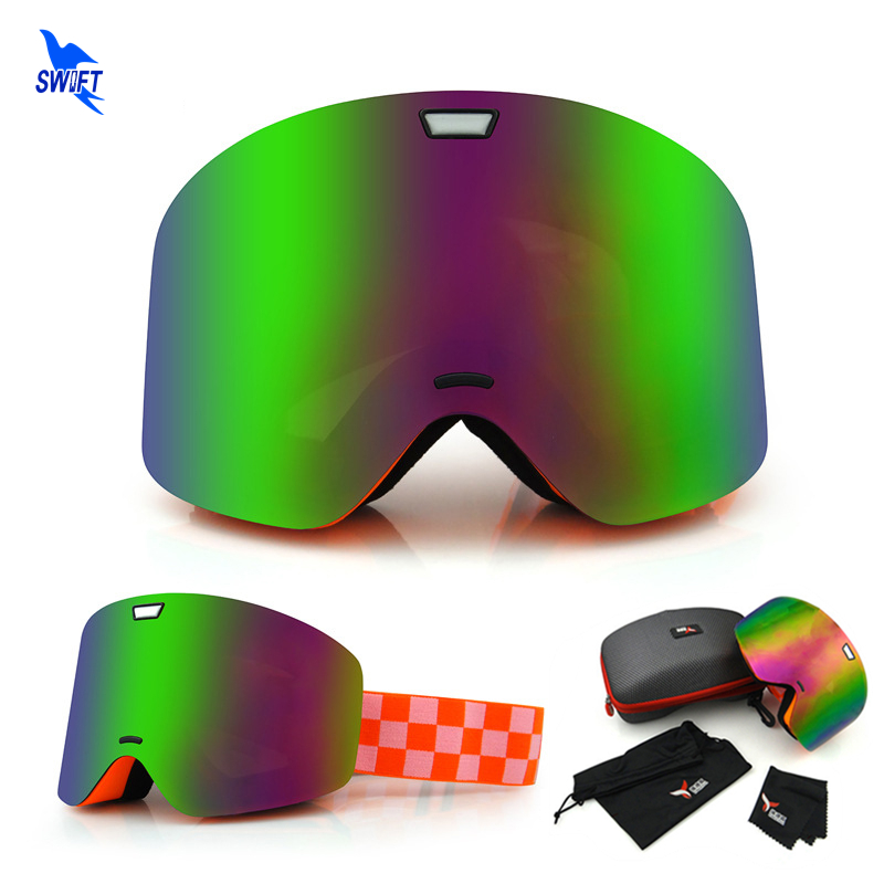 Frameless Professional Ski Goggles Double Layers Lens Anti-Fog UV400 Big Skiing Glasses  Snowboard Snow Goggles + Box + Bag Set polisi winter snowboard snow goggles men women double layer large spheral lens skiing glasses uv400 ski skateboard eyewear