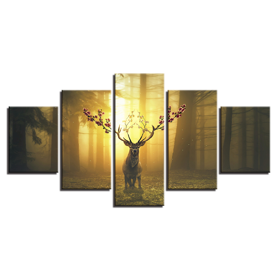 Home Decor Canvas HD Prints Wall Art Pictures 5 Pieces Jungle Animal ...
