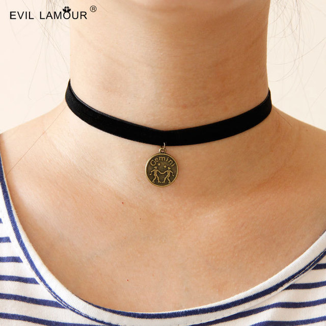New Trendy Constellation Choker Necklace Zodiac Signs ...