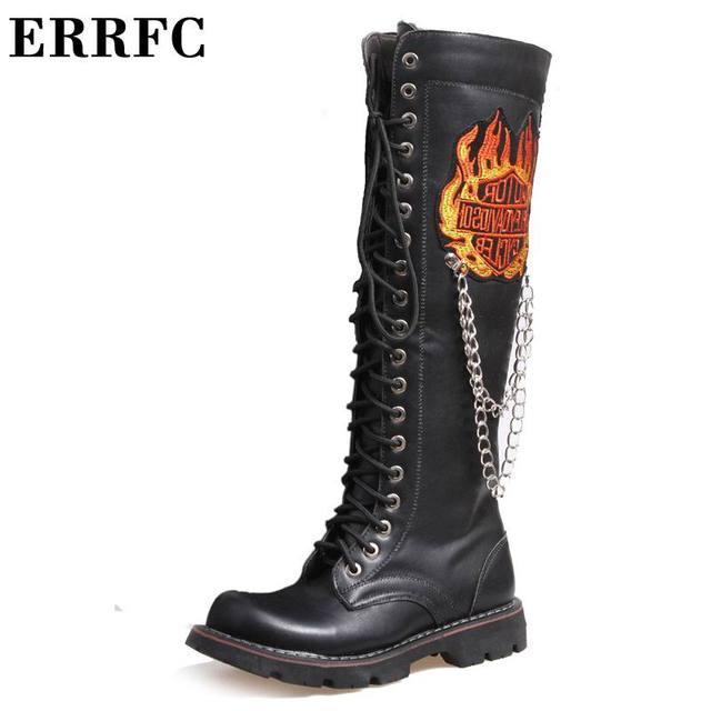 ERRFC Designer Fashion Motorcycle Boots For Men Black 47cm Long Punk Rock Riding Boot Men Leisure Fire Emboridered Chains Shoes