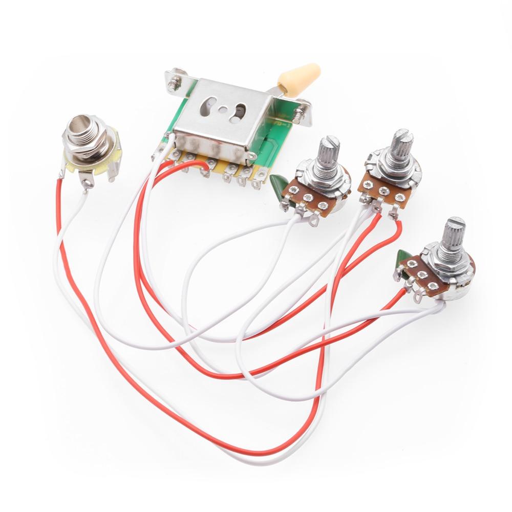 electric guitar pickup harness pickup 1v2t 5 way switch 500k  switch 500k pots jack for fender strat