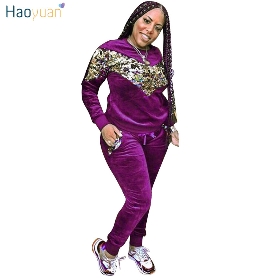HAOYUAN Velour Tracksuit for Women Matching Sets Sequin Thickening Velvet Sweatsuit Outfits Glitter Two Piece Set Top and Pants