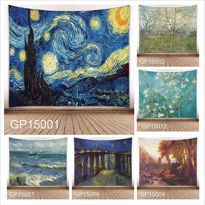 Wall Hanging Cactus Tapestry Vincent Van Gogh Artwork Starry Night Carpet Blanket Yoga Mat Decorative Tapestry For Home New1594