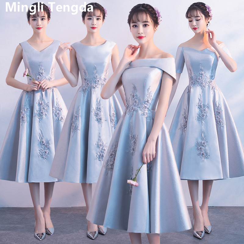 Mingli Tengda Prom Dresses with Lace Applique Party Dress 2019 New Elegant Off the Shoulder Bridesmaid Dress vestido longo fenda