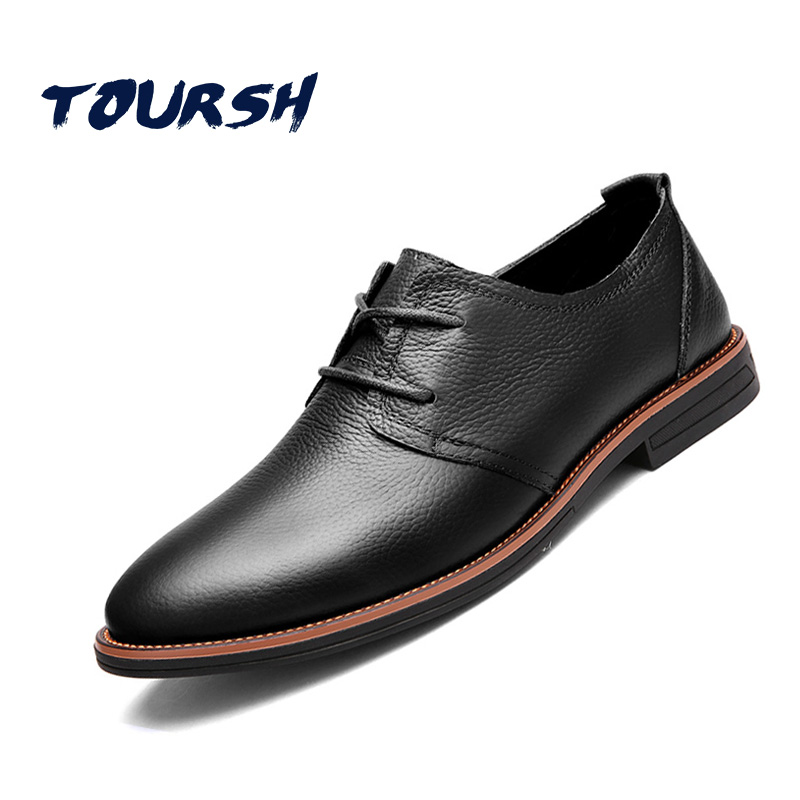 TOURSH 2018 NEW ARRIVAL Luxury Genuine Leather Men Shoes Brogue Lace Up Platform Fashion Oxfords Man Flats Casual Male Shoes brand new arrival handmade genuine leather men flats spring fashion lace up brand casual shoes ege breathable leisure shoes men