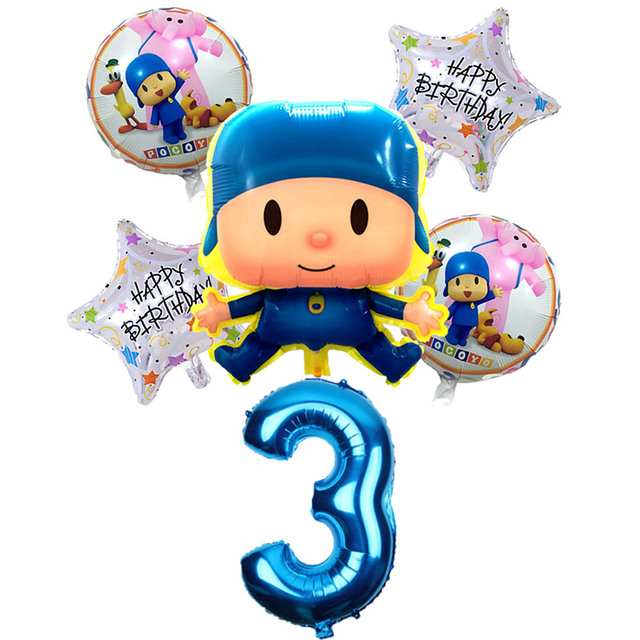 6 Pcs/set Pocoyo Balloons Foil Balloon Children's Day Supplies Baby Shower Birthday Party Air Balloons Decoration Globos toys