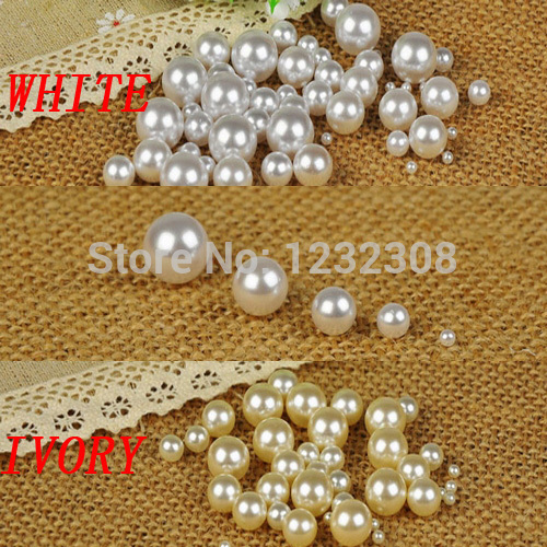 White Color 1.5mm To 18mm No Hole Round Beads No Hole Imitation Round Pearls Craft Pearl Beads DIY Jewelry Making Decorations free shipping imitation pearls chain flatback resin material half pearls chain many styles to choose one roll per lot
