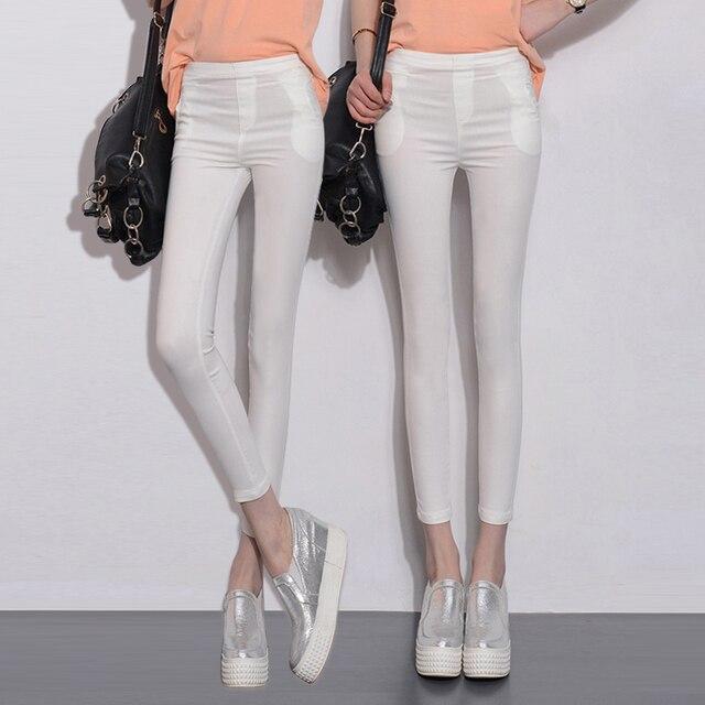 3xl плюс размер женщин лето стиль 2016 бермуды feminina носит вне тонкие белые гетры брюки карандаш женские брюки A0888