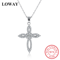 LOWAY 100 925 Sterling Silver Fashion Necklaces Pendants Women Jewelry With Full Tiny Zirconia For Mothers