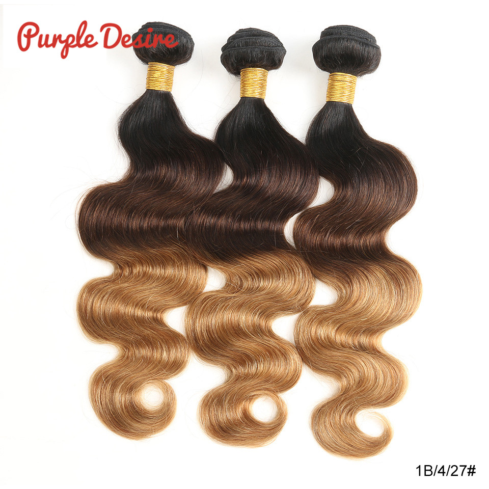 Ombre Hair Brazilian Hair Body Wave 1b / 4/30 27 3 Tone Remy Ombre - Մարդու մազերը (սև)